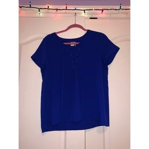 Paper Crane Royal Blue Lace-Up Blouse